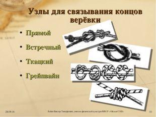 Узлы для связывания концов верёвки Прямой Встречный Ткацкий Грейпвайн * * Баб