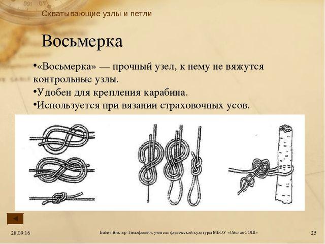 Восьмерка «Восьмерка» — прочный узел, к нему не вяжутся контрольные узлы. Удо...