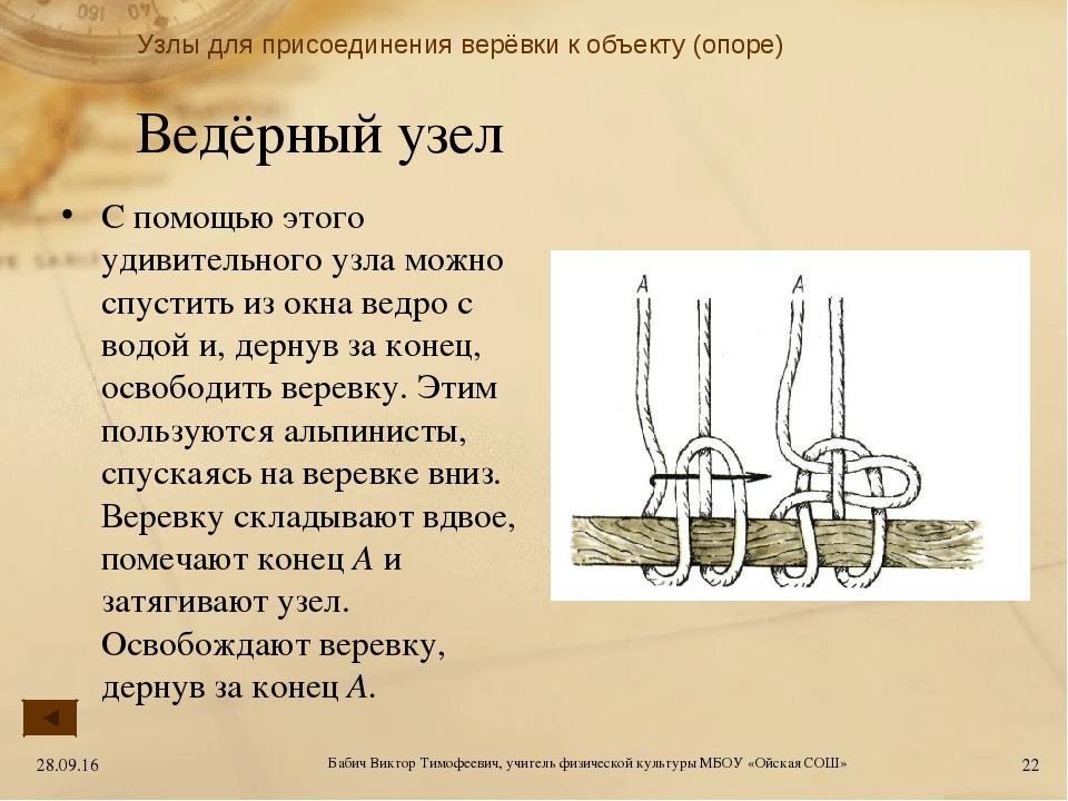 Ведёрный узел С помощью этого удивительного узла можно спустить из окна ведро...