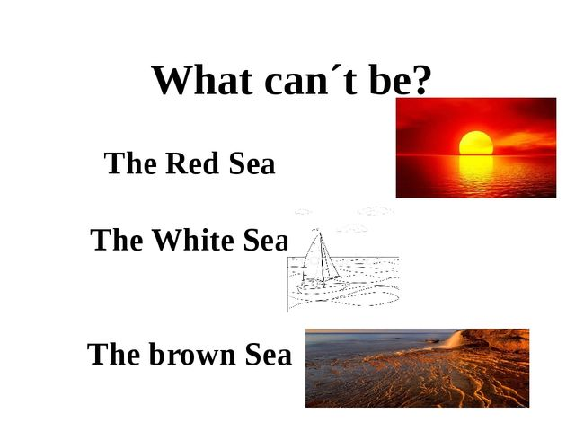 What can´t be? The Red Sea The White Sea The brown Sea