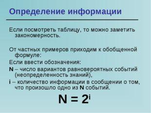 Определение информации Если посмотреть таблицу, то можно заметить закономерно