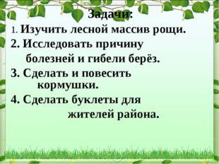 Задачи: 1. Изучить лесной массив рощи. 2. Исследовать причину болезней и гиб