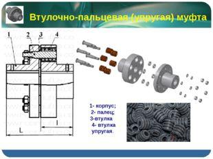 Втулочно-пальцевая (упругая) муфта 1- корпус; 2- палец; 3-втулка 4- втулка уп