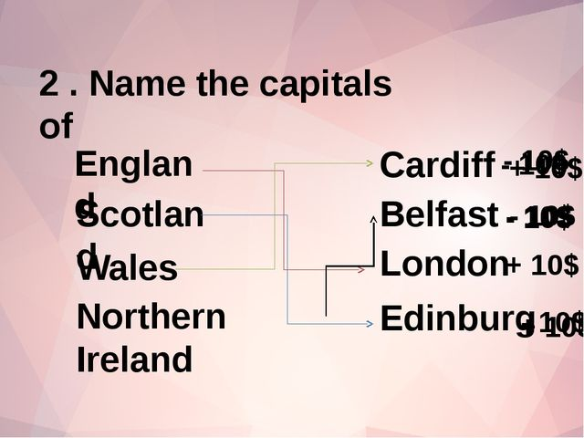 2 . Name the capitals of Belfast England Scotland Wales Northern Ireland Lond...