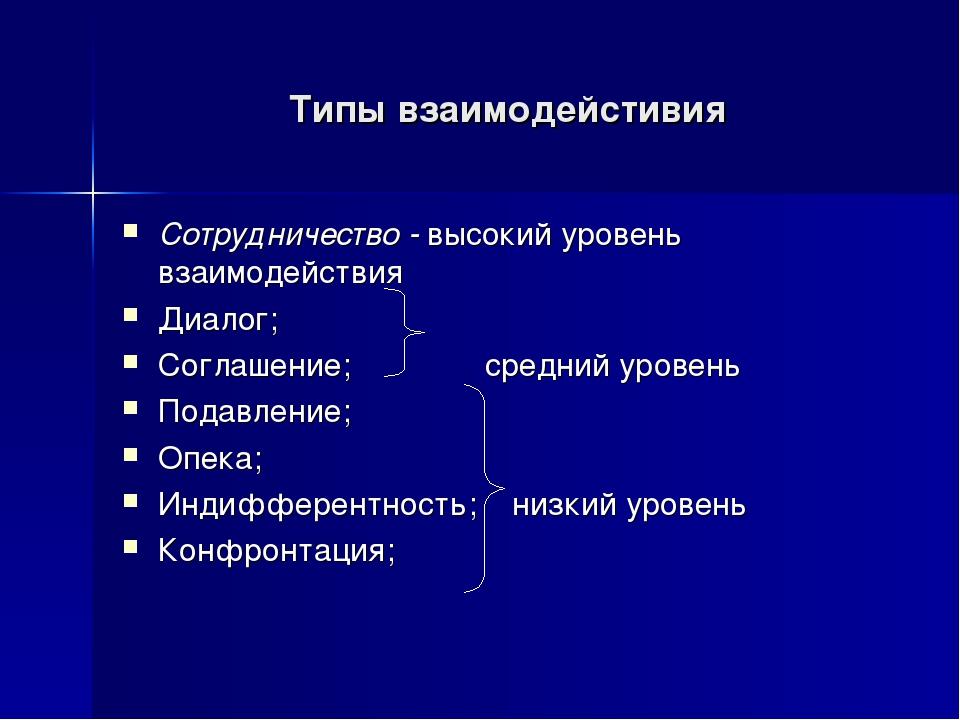 Сотрудничество - высокий уровень взаимодействия Диалог; Соглашение; средний у...