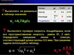 vτ =4,74.μ/π ? Вычислите лучевую скорость Альдебарана, если его пространствен