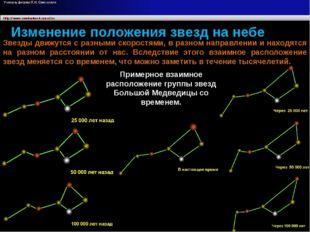 Изменение положения звезд на небе Звезды движутся с разными скоростями, в раз