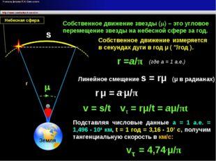 m s Земля Небесная сфера Собственное движение звезды (m) – это угловое переме