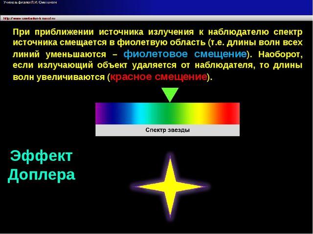 При приближении источника излучения к наблюдателю спектр источника смещается...