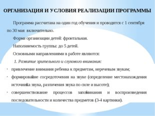 ОРГАНИЗАЦИЯ И УСЛОВИЯ РЕАЛИЗАЦИИ ПРОГРАММЫ Программа рассчитана на один год о
