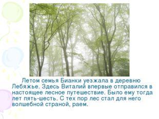 Летом семья Бианки уезжала в деревню Лебяжье. Здесь Виталий впервые отправи