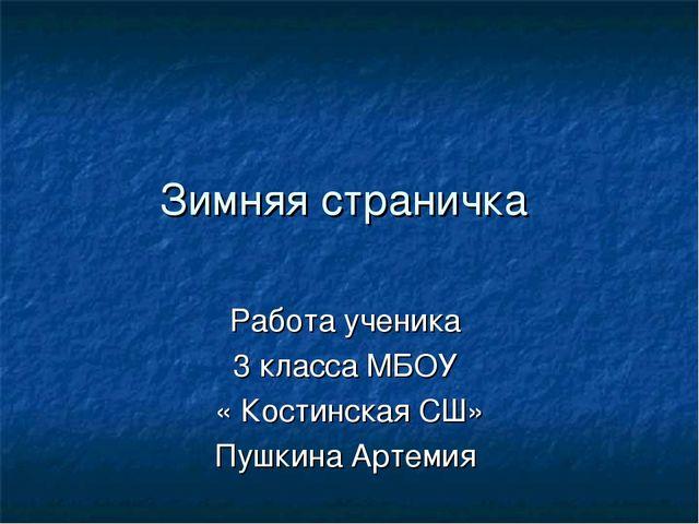 Зимняя страничка Работа ученика 3 класса МБОУ « Костинская СШ» Пушкина Артемия