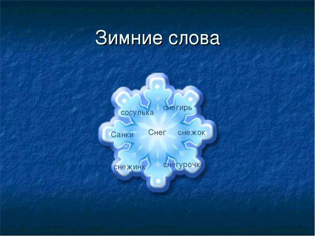 Зимние слова Снег Санки снежок снежинка снегурочка снегирь сосулька