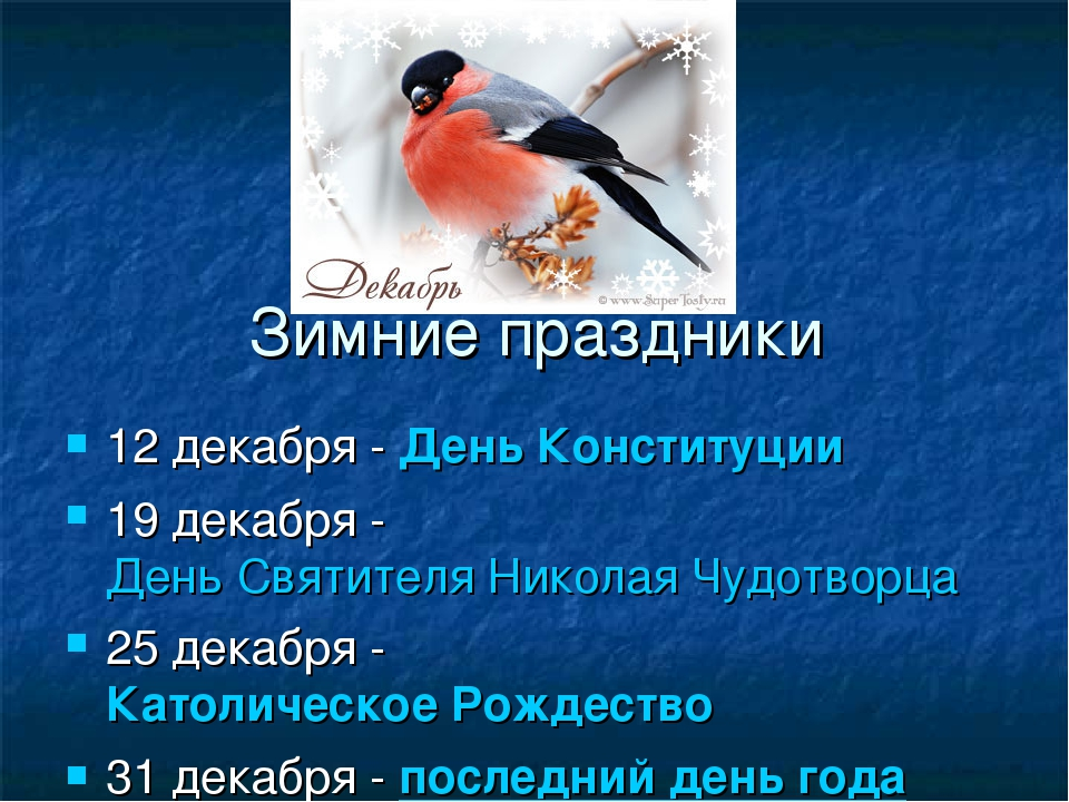 Зимние праздники 12 декабря -День Конституции 19 декабря -День Святителя Ни...
