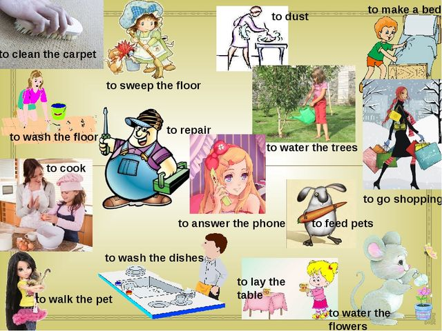 to walk the pet to wash the floor to clean the carpet to go shopping to lay t...