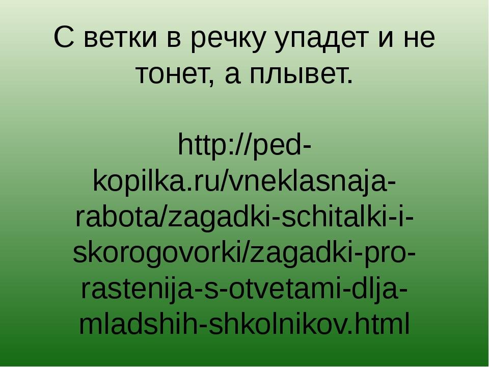 С ветки в речку упадет и не тонет, а плывет. http://ped-kopilka.ru/vneklasnaj...