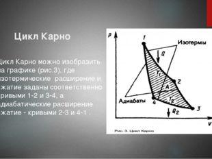 Цикл Карно Цикл Карно можно изобразить на графике (рис.3), где изотермические