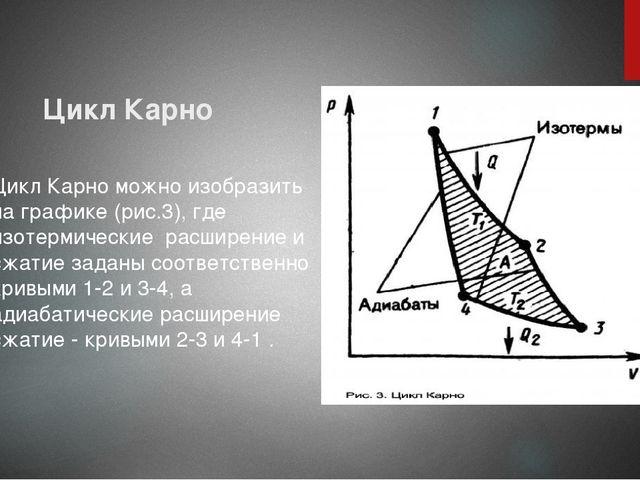 Цикл Карно Цикл Карно можно изобразить на графике (рис.3), где изотермические...