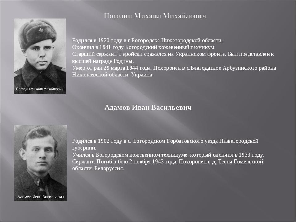Родился в 1920 году в г.Богородске Нижегородской области. Окончил в 1941 году...