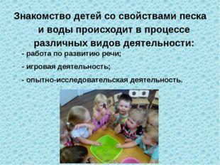 Знакомство детей со свойствами песка и воды происходит в процессе различных в