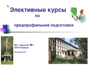 Элективные курсы по предпрофильной подготовке МУ « Школа № 80 » ЗАТО Северск