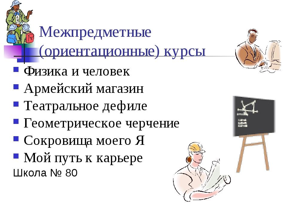 Межпредметные (ориентационные) курсы Физика и человек Армейский магазин Театр...