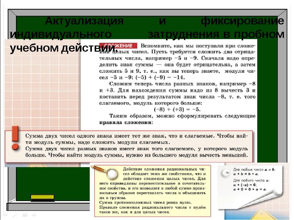 Актуализация и фиксирование индивидуального затруднения в пробном учебном д...
