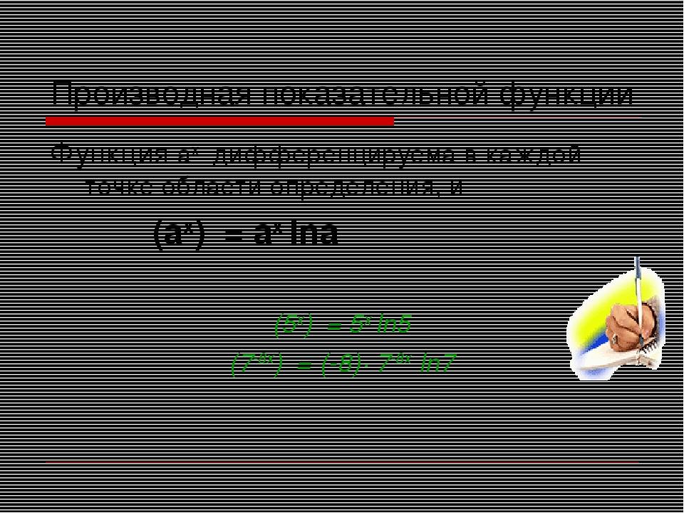Производная показательной функции Функция aх дифференцируема в каждой точке о...