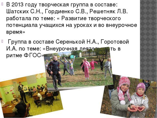 В 2013 году творческая группа в составе: Шатских С.Н., Гордиенко С.В., Решет...