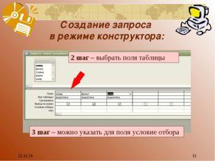 * * Создание запроса в режиме конструктора: 2 шаг – выбрать поля таблицы 3 ша