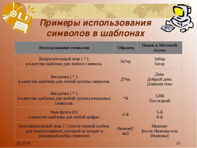 * * Примеры использования символов в шаблонах Использование символовОбразец...