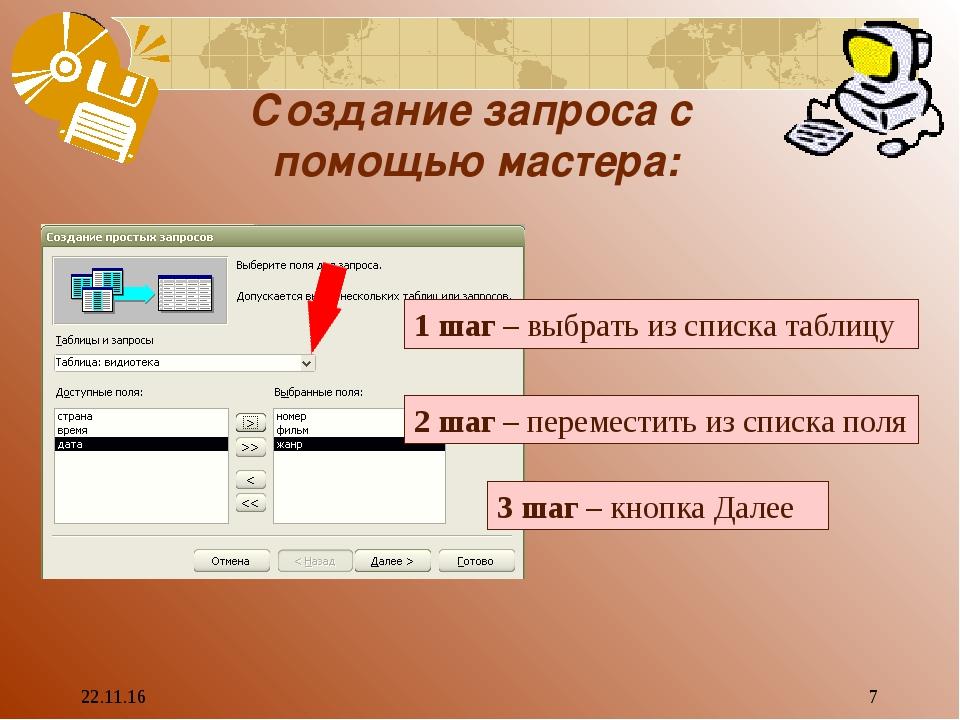 * * Создание запроса с помощью мастера: 1 шаг – выбрать из списка таблицу 2 ш...