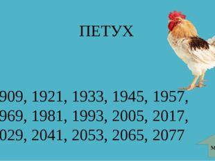 ПЕТУХ МЕНЮ 1909, 1921, 1933, 1945, 1957, 1969, 1981, 1993, 2005, 2017, 2029,