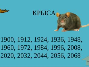 КРЫСА 1900, 1912, 1924, 1936, 1948, 1960, 1972, 1984, 1996, 2008, 2020, 2032,