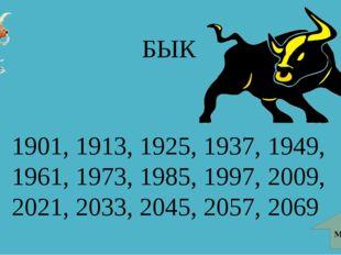 БЫК 1901, 1913, 1925, 1937, 1949, 1961, 1973, 1985, 1997, 2009, 2021, 2033, 2