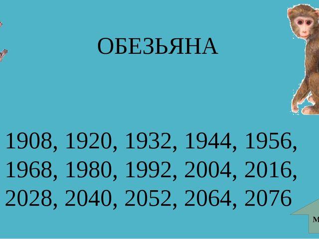 ОБЕЗЬЯНА МЕНЮ 1908, 1920, 1932, 1944, 1956, 1968, 1980, 1992, 2004, 2016, 202...