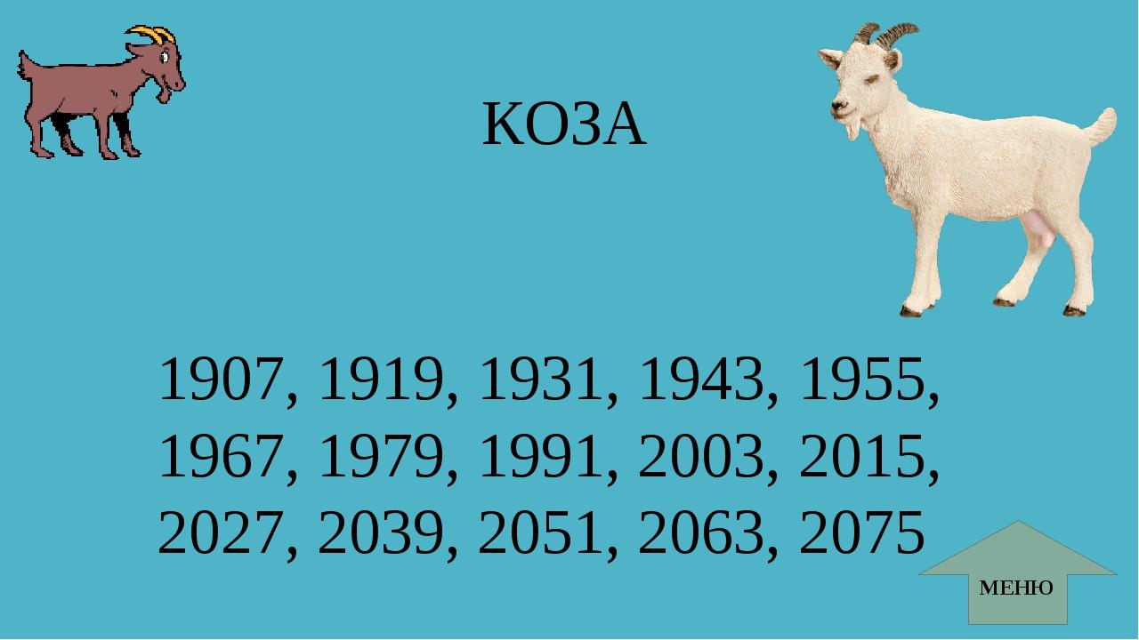 КОЗА МЕНЮ 1907, 1919, 1931, 1943, 1955, 1967, 1979, 1991, 2003, 2015, 2027, 2...