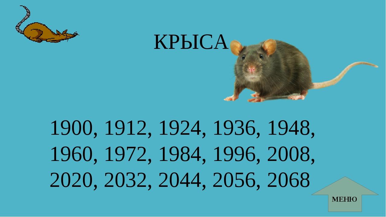 КРЫСА 1900, 1912, 1924, 1936, 1948, 1960, 1972, 1984, 1996, 2008, 2020, 2032,...