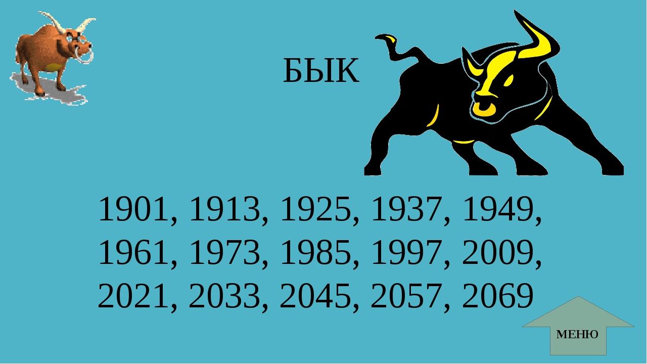 БЫК 1901, 1913, 1925, 1937, 1949, 1961, 1973, 1985, 1997, 2009, 2021, 2033, 2...