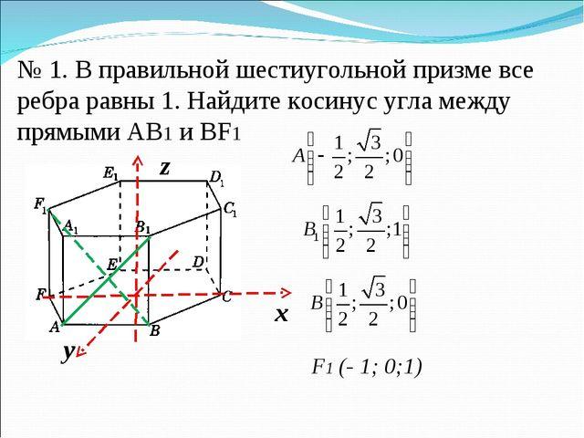 № 1. В правильной шестиугольной призме все ребра равны 1. Найдите косинус угл...