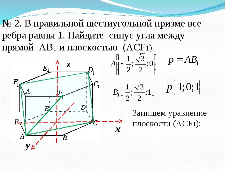 № 2. В правильной шестиугольной призме все ребра равны 1. Найдите синус угла...