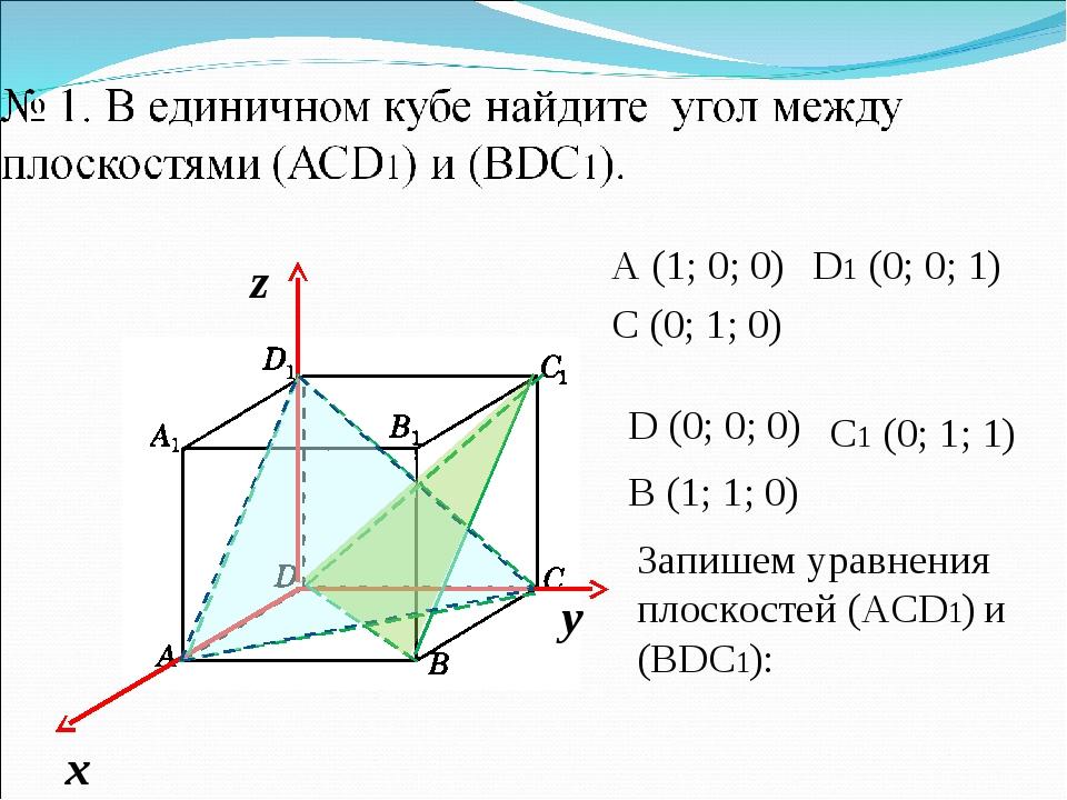 A (1; 0; 0) C (0; 1; 0) D1 (0; 0; 1) Запишем уравнения плоскостей (АСD1) и (B...