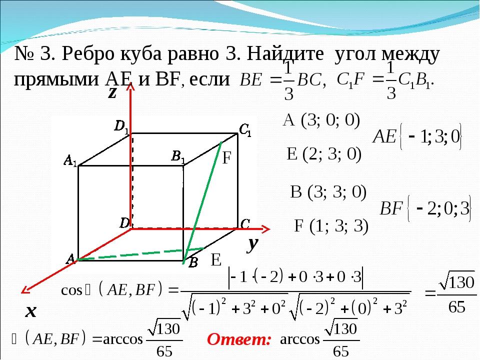 E F № 3. Ребро куба равно 3. Найдите угол между прямыми AE и BF, если A (3; 0...