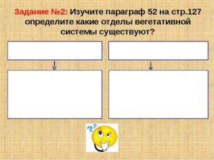 Задание №2: Изучите параграф 52 на стр.127 определите какие отделы вегетативн