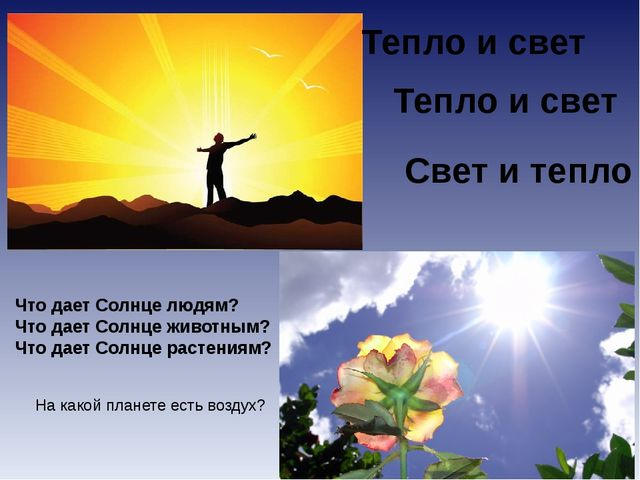 Что дает Солнце людям? Что дает Солнце животным? Что дает Солнце растениям? Т...