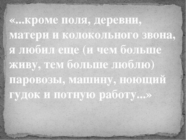 «...кроме поля, деревни, матери и колокольного звона, я любил еще (и чем боль...