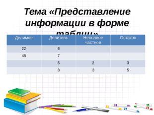 Тема «Представление информации в форме таблиц» Делимое Делитель Неполное част