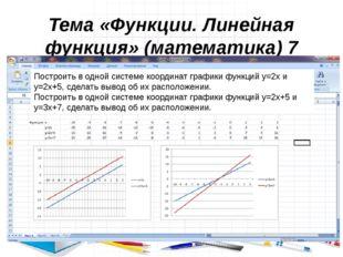 Тема «Функции. Линейная функция» (математика) 7 класс Построить в одной систе