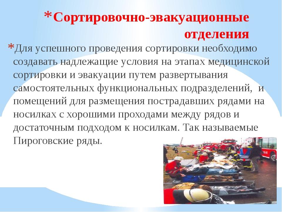 Сортировочно-эвакуационные отделения Для успешного проведения сортировки необ...
