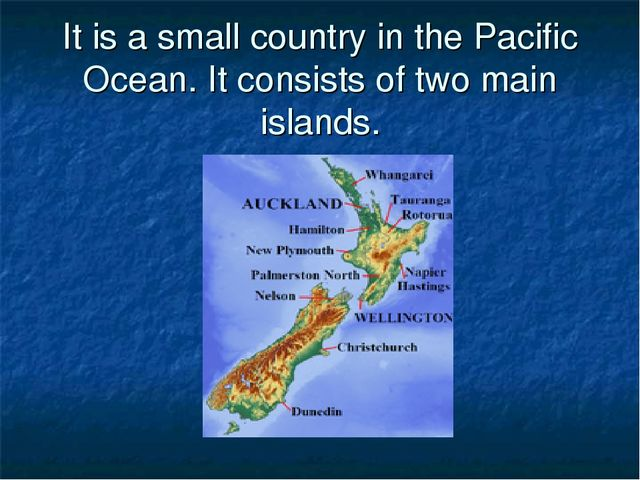 It is a small country in the Pacific Ocean. It consists of two main islands.